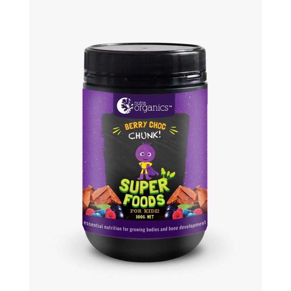 NUTRA ORGANICS SUPERFOODS FOR KIDZ BERRY CHOC CHUNK 300G