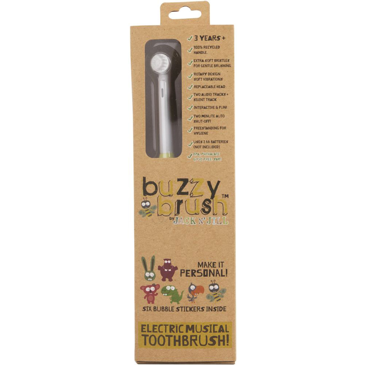 JACK N' JILL ELECTRICAL MUSICAL TOOTHBRUSH BUZZY BRUSH 3YEARS+