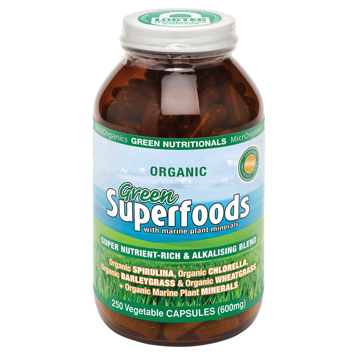 MICRORGANICS GREEN NUTRITIONALS SUPERFOODS 600MG 250C