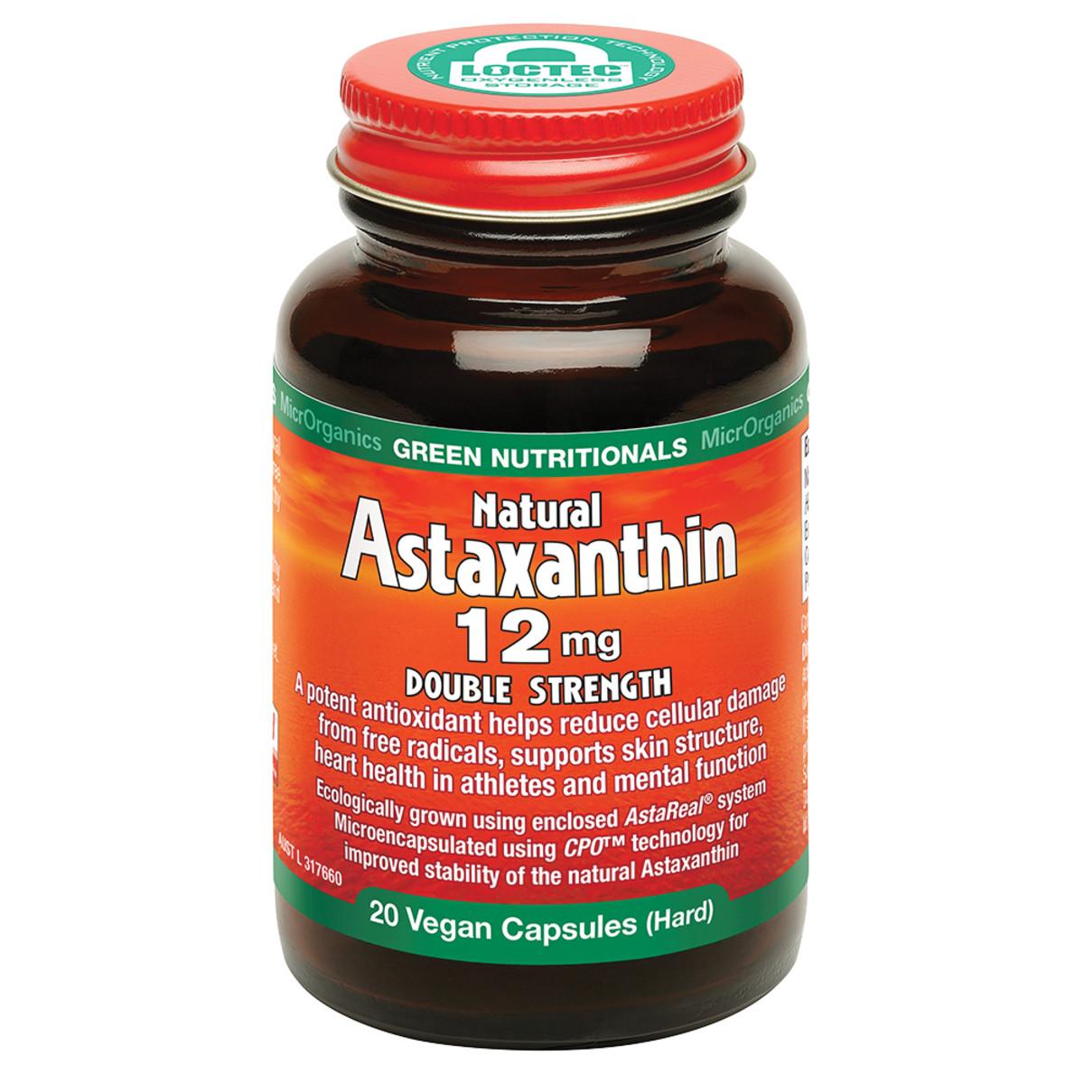 MICRORGANICS GREEN NUTRITIONALS NATURAL ASTAXANTHIN 12MG DOUBLE STRENGTH 20 VEGAN CAPSULES (HARD)