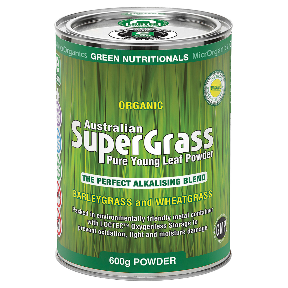 MICRORGANICS GREEN NUTRITIONALS ORGANIC AUS SUPERGRASS 600G