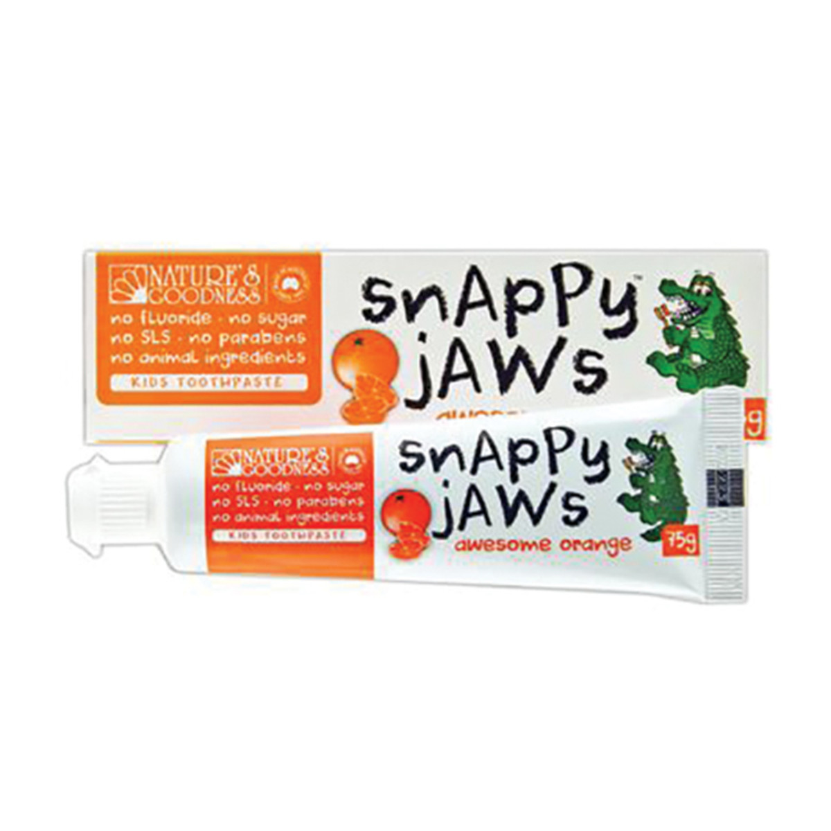 NATURE'S GOODNESS SNAPPY JAWS TOOTHPASTE ORANGE 75G