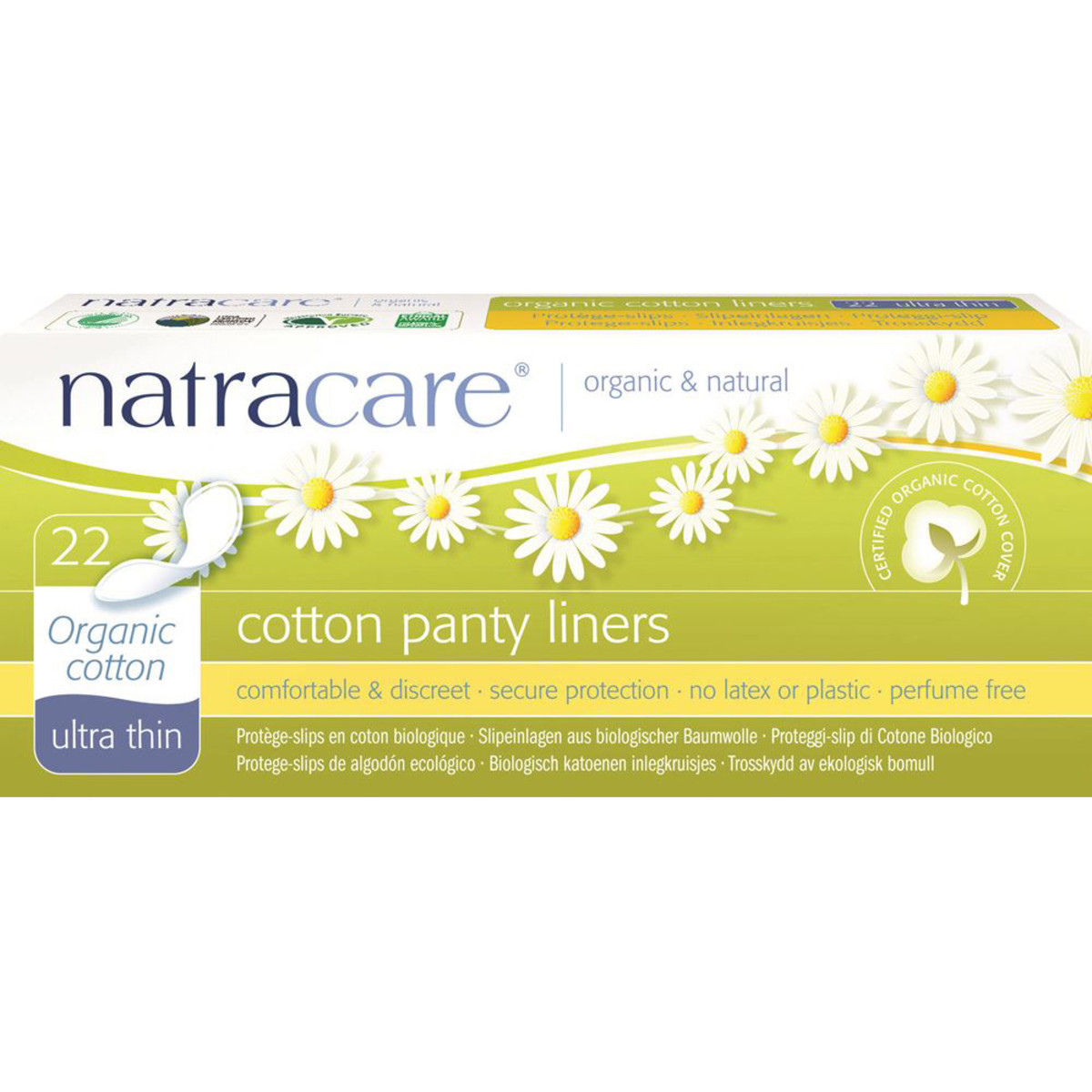 NATRACARE PANTY LINERS ULTRA THIN ORGANIC COTTON COVER 22 PACK