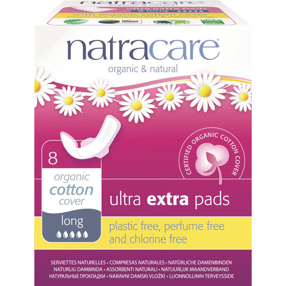 NATRACARE ULTRA EXTRA PADS LONG ORGANIC COTTON COVER 8 PACK