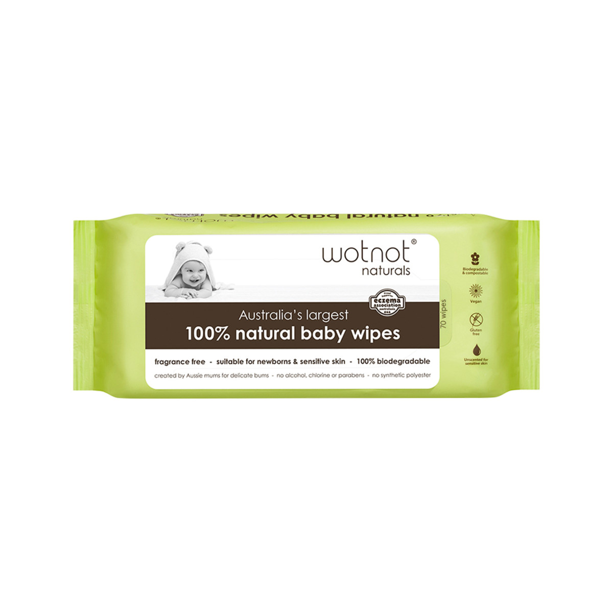 WOTNOT BIODEGRADABLE BABY WIPES 70 WIPES
